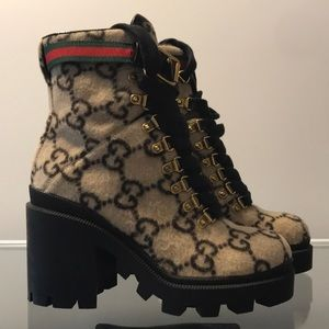 Gucci trip GG wool ankle boots